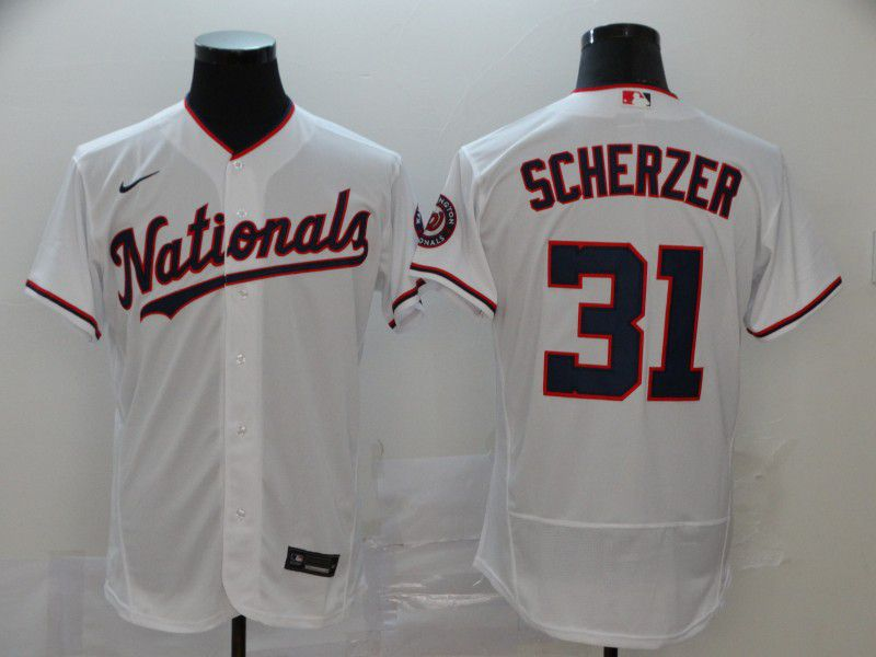 Men Washington Nationals 31 Scherzer White Nike Elite MLB Jerseys