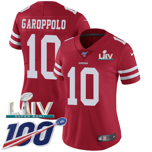 San Francisco 49ers Nike 10 Jimmy Garoppolo Red Super Bowl LIV 2020 Team Color Women Stitched NFL 100th Season Vapor Limited Jersey