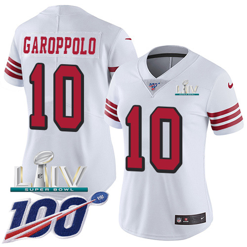 San Francisco 49ers Nike 10 Jimmy Garoppolo White Super Bowl LIV 2020 Rush Women Stitched NFL Limited 100th Season Jersey
