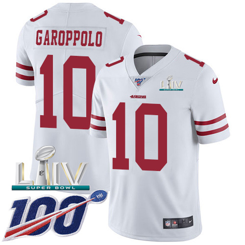 San Francisco 49ers Nike 10 Jimmy Garoppolo White Super Bowl LIV 2020 Youth Stitched NFL 100th Season Vapor Limited Jersey