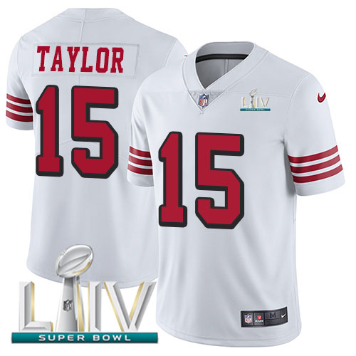 San Francisco 49ers Nike 15 Trent Taylor White Super Bowl LIV 2020 Rush Youth Stitched NFL Vapor Untouchable Limited Jersey