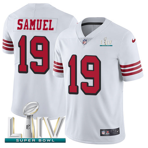 San Francisco 49ers Nike 19 Deebo Samuel White Super Bowl LIV 2020 Rush Youth Stitched NFL Vapor Untouchable Limited Jersey