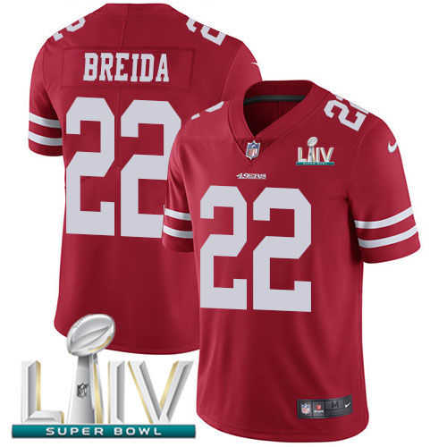 San Francisco 49ers Nike 22 Matt Breida Red Super Bowl LIV 2020 Team Color Youth Stitched NFL Vapor Untouchable Limited Jersey
