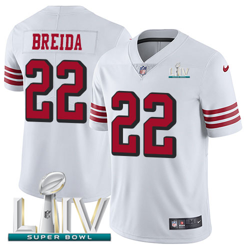 San Francisco 49ers Nike 22 Matt Breida White Super Bowl LIV 2020 Rush Youth Stitched NFL Vapor Untouchable Limited Jersey