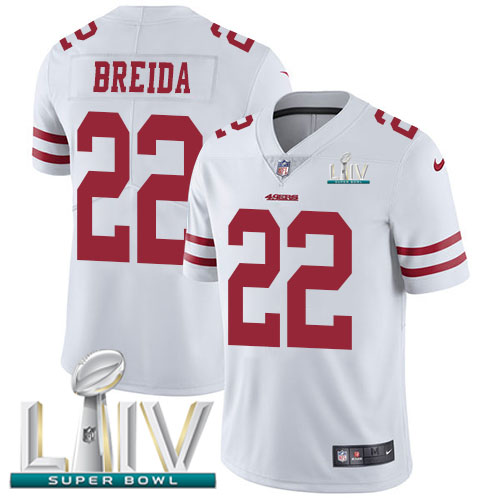 San Francisco 49ers Nike 22 Matt Breida White Super Bowl LIV 2020 Youth Stitched NFL Vapor Untouchable Limited Jersey