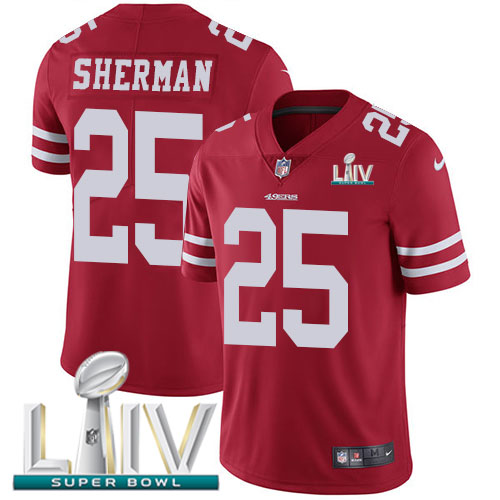 San Francisco 49ers Nike 25 Richard Sherman Red Super Bowl LIV 2020 Team Color Youth Stitched NFL Vapor Untouchable Limited Jersey