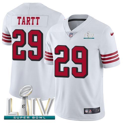 San Francisco 49ers Nike 29 Jaquiski Tartt White Super Bowl LIV 2020 Rush Youth Stitched NFL Vapor Untouchable Limited Jersey