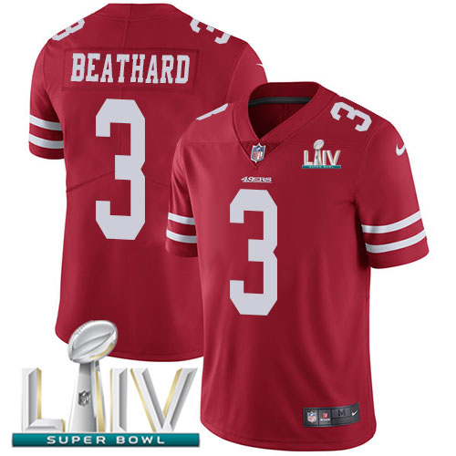 San Francisco 49ers Nike 3 C.J. Beathard Red Super Bowl LIV 2020 Team Color Men Stitched NFL Vapor Untouchable Limited Jersey