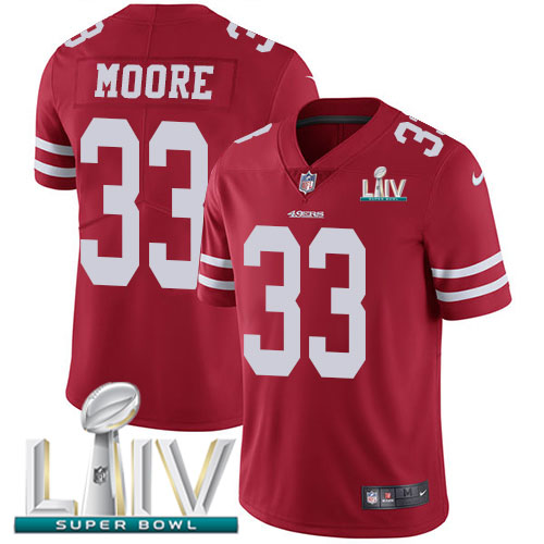 San Francisco 49ers Nike 33 Tarvarius Moore Red Super Bowl LIV 2020 Team Color Youth Stitched NFL Vapor Untouchable Limited Jersey