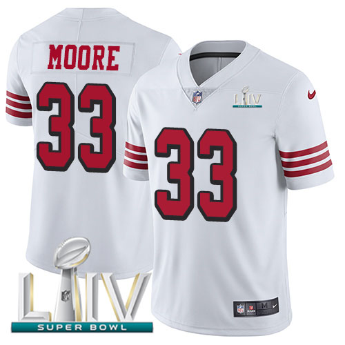 San Francisco 49ers Nike 33 Tarvarius Moore White Super Bowl LIV 2020 Rush Youth Stitched NFL Vapor Untouchable Limited Jersey