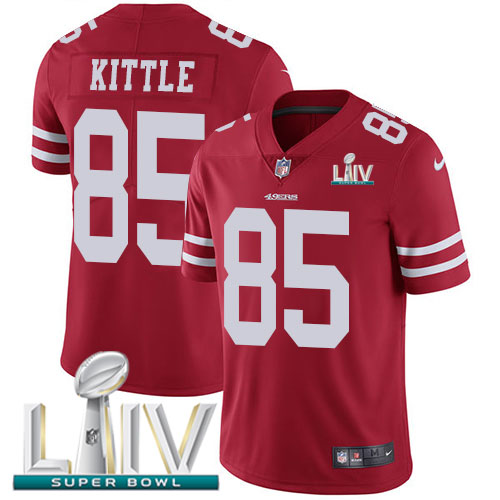 San Francisco 49ers Nike 85 George Kittle Red Super Bowl LIV 2020 Team Color Men Stitched NFL Vapor Untouchable Limited Jersey