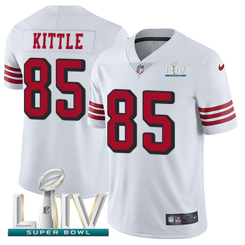 San Francisco 49ers Nike 85 George Kittle White Super Bowl LIV 2020 Rush Youth Stitched NFL Vapor Untouchable Limited Jersey