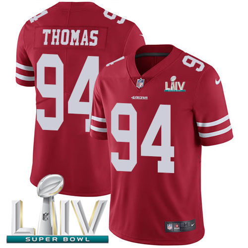San Francisco 49ers Nike 94 Solomon Thomas Red Super Bowl LIV 2020 Team Color Men Stitched NFL Vapor Untouchable Limited Jersey