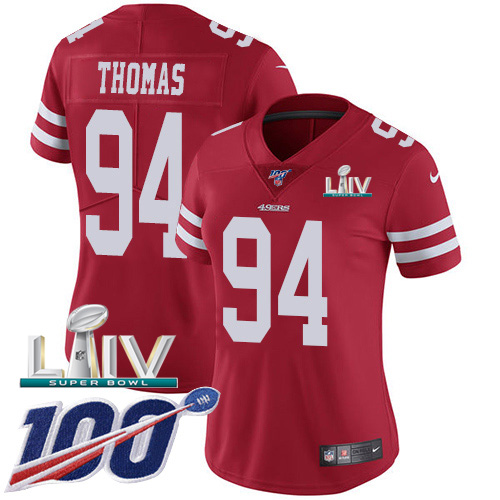 San Francisco 49ers Nike 94 Solomon Thomas Red Super Bowl LIV 2020 Team Color Women Stitched NFL 100th Season Vapor Limited Jersey