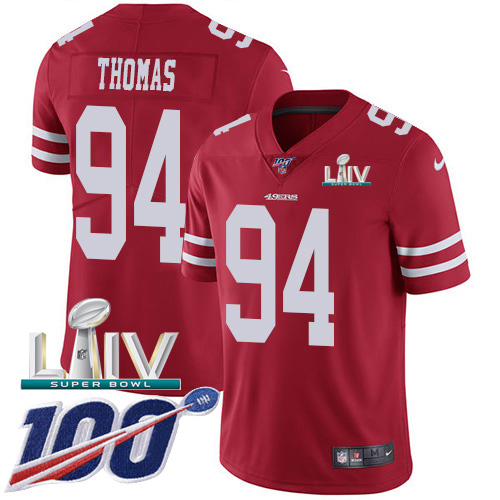 San Francisco 49ers Nike 94 Solomon Thomas Red Super Bowl LIV 2020 Team Color Youth Stitched NFL 100th Season Vapor Limited Jersey