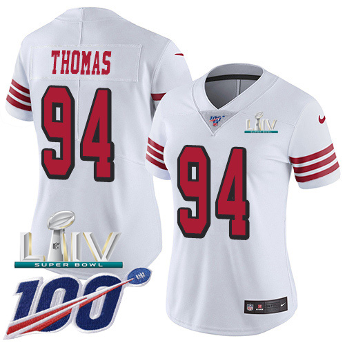 San Francisco 49ers Nike 94 Solomon Thomas White Super Bowl LIV 2020 Rush Women Stitched NFL Limited 100th Season Jersey