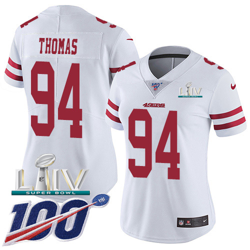 San Francisco 49ers Nike 94 Solomon Thomas White Super Bowl LIV 2020 Women Stitched NFL 100th Season Vapor Limited Jersey