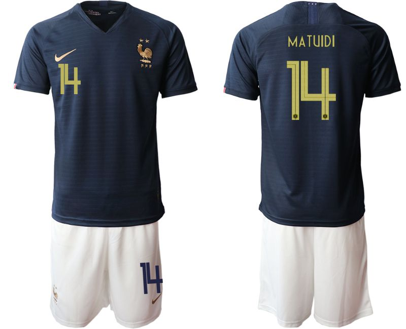 Men 2019-2020 Season National Team French home 14 blue Soccer Jerseys