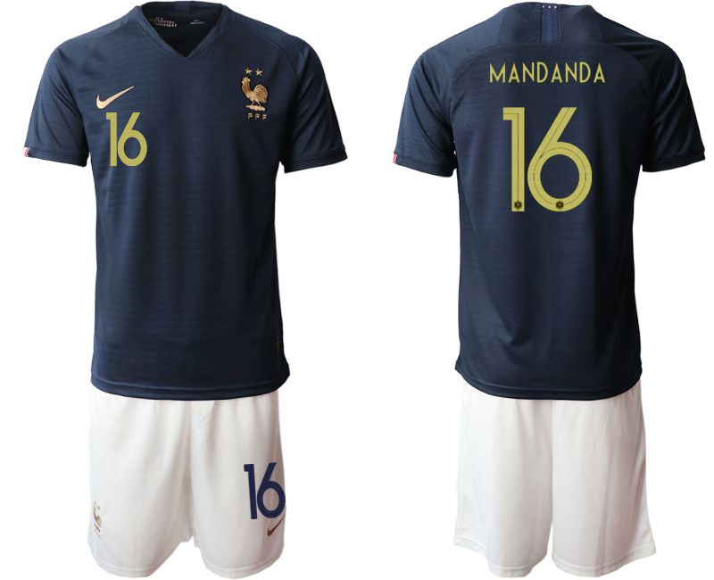 Men 2019-2020 Season National Team French home 16 blue Soccer Jerseys