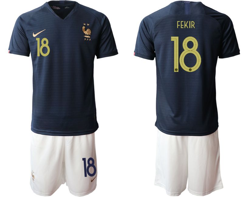 Men 2019-2020 Season National Team French home 18 blue Soccer Jerseys