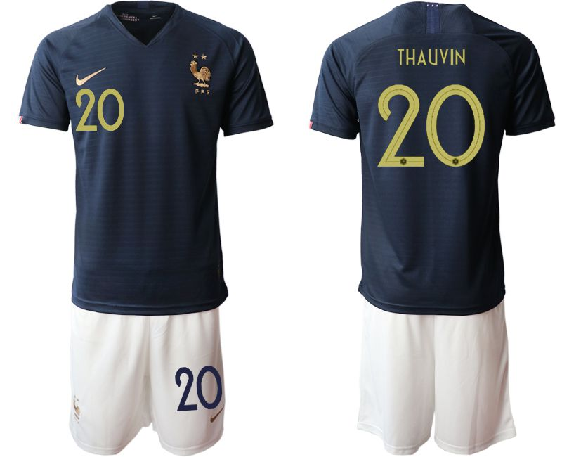 Men 2019-2020 Season National Team French home 20 blue Soccer Jerseys