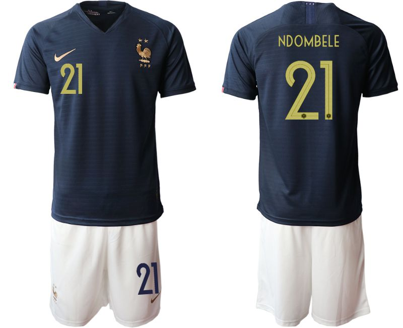 Men 2019-2020 Season National Team French home 21 blue Soccer Jerseys