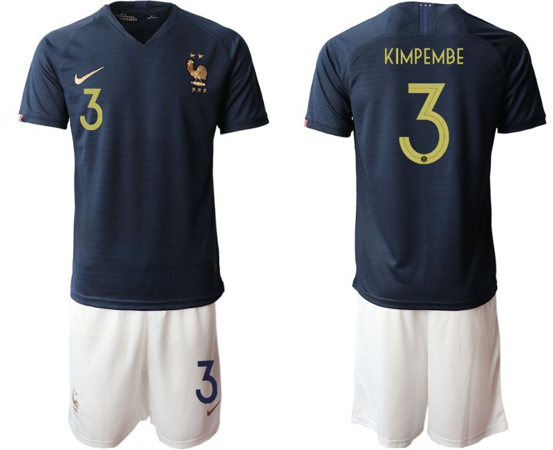 Men 2019-2020 Season National Team French home 3 blue Soccer Jerseys