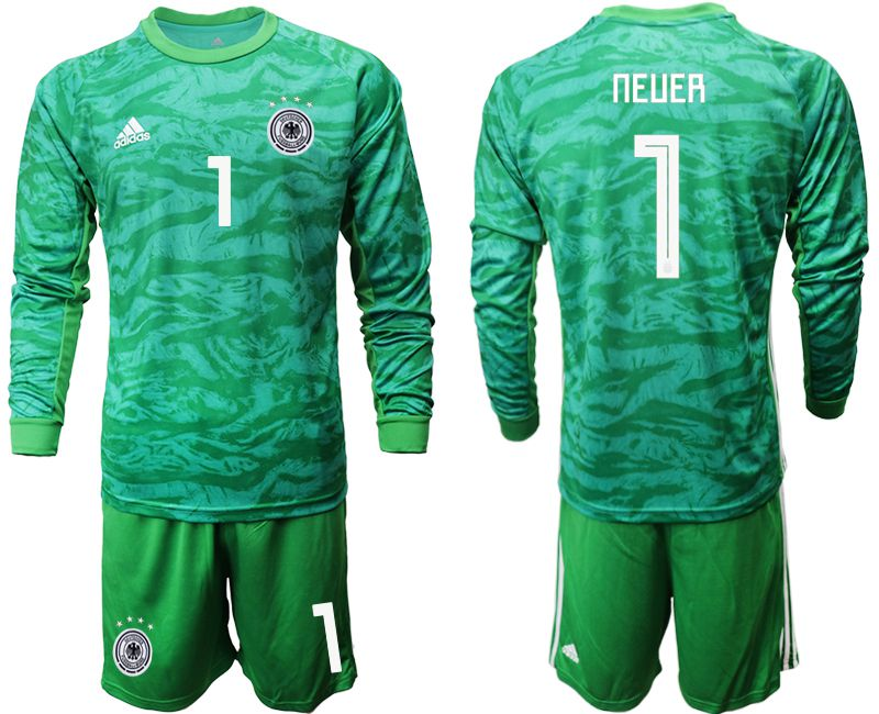 Men 2019-2020 Season National Team Germany green goalkeeper long sleeve 1 Soccer Jersey