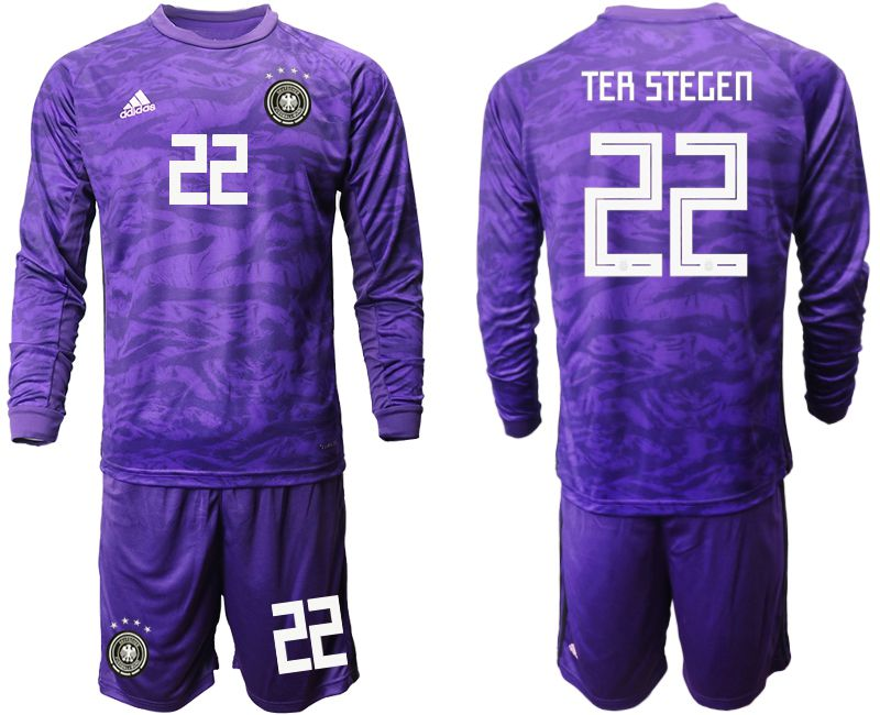 Men 2019-2020 Season National Team Germany purple long sleeved Goalkeeper 22 Soccer Jersey