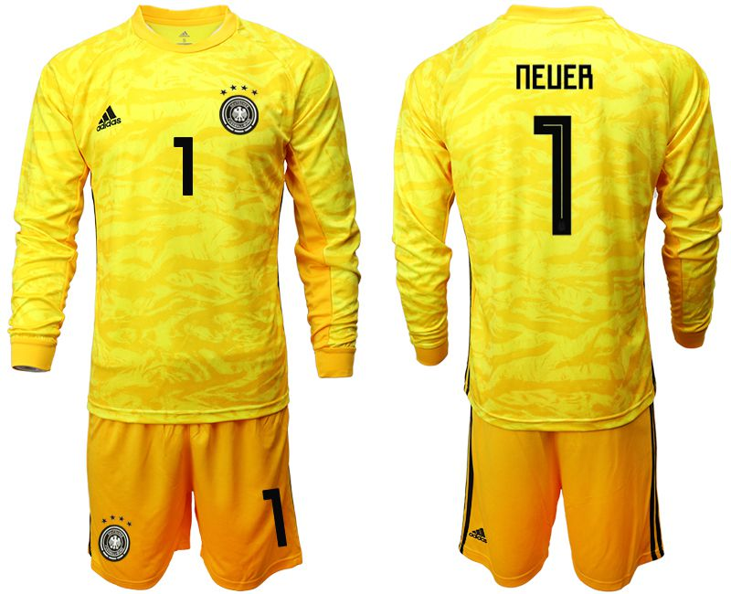 Men 2019-2020 Season National Team Germany yellow goalkeeper long sleeve 1 Soccer Jersey