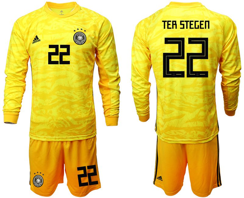 Men 2019-2020 Season National Team Germany yellow goalkeeper long sleeve 22 Soccer Jersey