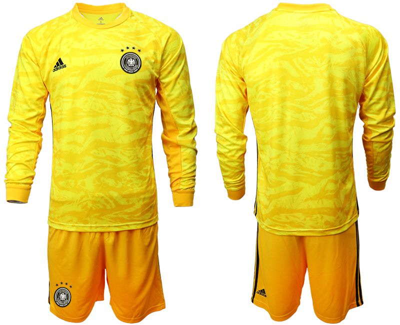Men 2019-2020 Season National Team Germany yellow goalkeeper long sleeve Soccer Jersey
