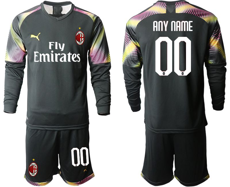 Men 2019-2020 club AC milan black goalkeeper Long sleeve customized Soccer Jerseys