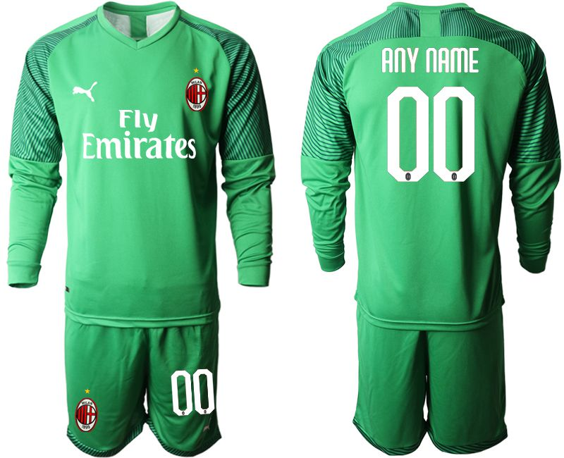 Men 2019-2020 club AC milan green goalkeeper long sleeve customized Soccer Jerseys
