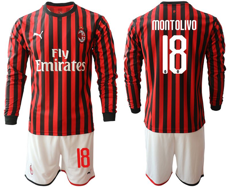 Men 2019-2020 club AC milan home long sleeve 18 red Soccer Jerseys