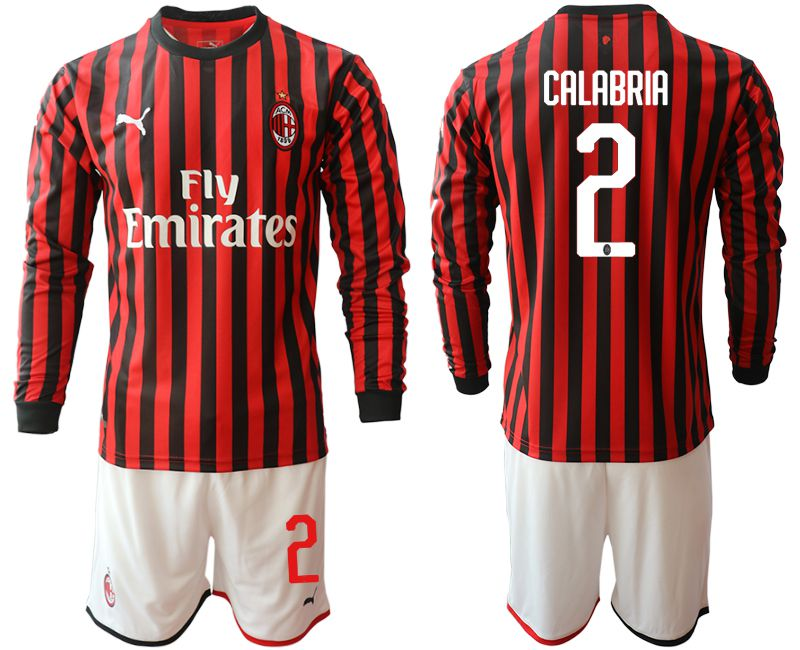 Men 2019-2020 club AC milan home long sleeve 2 red Soccer Jerseys
