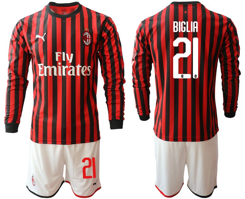 Men 2019-2020 club AC milan home long sleeve 21 red Soccer Jerseys