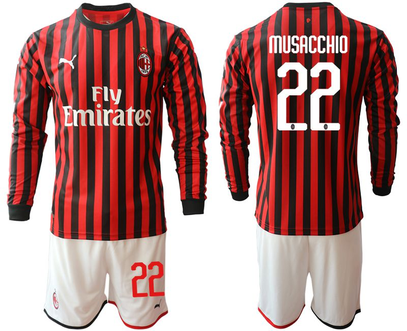 Men 2019-2020 club AC milan home long sleeve 22 red Soccer Jerseys
