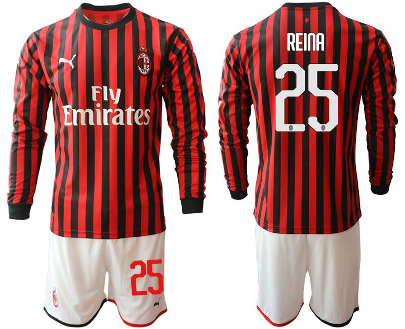 Men 2019-2020 club AC milan home long sleeve 25 red Soccer Jerseys