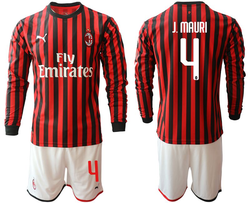 Men 2019-2020 club AC milan home long sleeve 4 red Soccer Jerseys