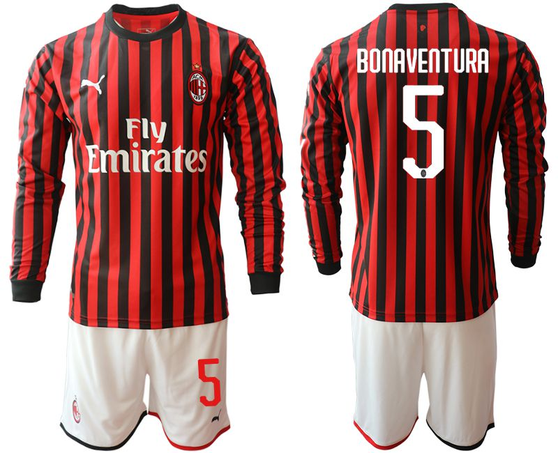 Men 2019-2020 club AC milan home long sleeve 5 red Soccer Jerseys