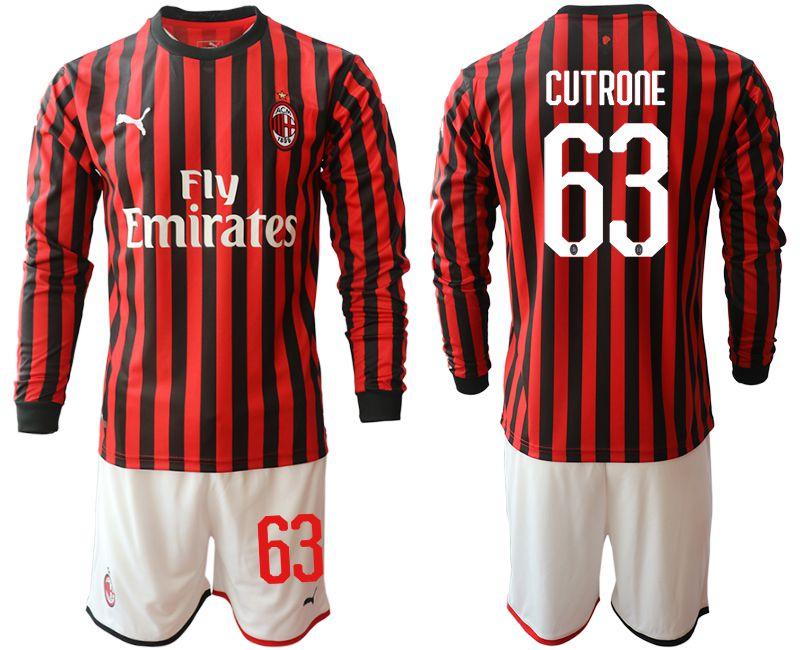 Men 2019-2020 club AC milan home long sleeve 63 red Soccer Jerseys
