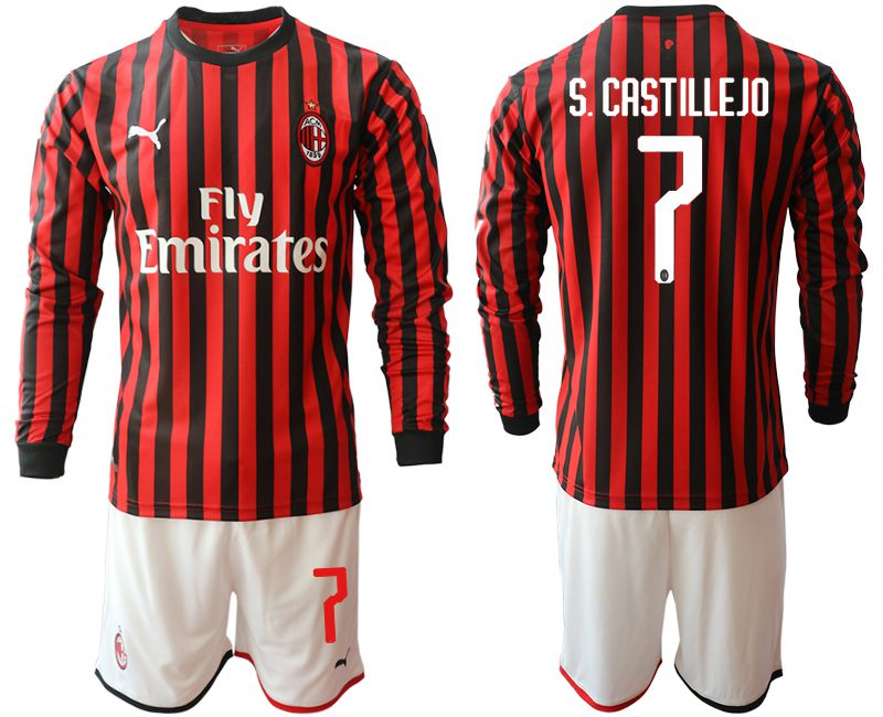 Men 2019-2020 club AC milan home long sleeve 7 red Soccer Jerseys