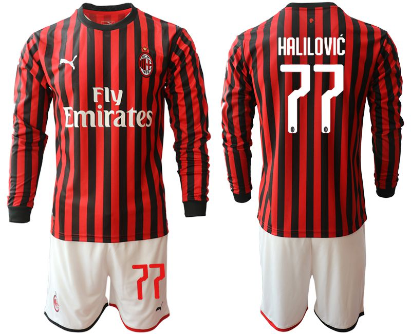 Men 2019-2020 club AC milan home long sleeve 77 red Soccer Jerseys