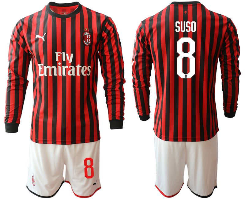 Men 2019-2020 club AC milan home long sleeve 8 red Soccer Jerseys