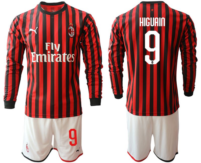 Men 2019-2020 club AC milan home long sleeve 9 red Soccer Jerseys