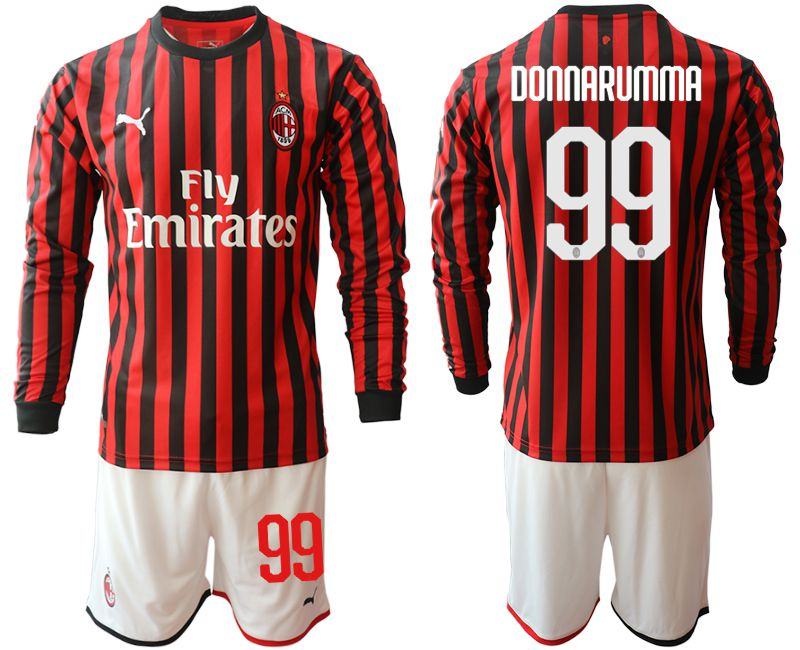 Men 2019-2020 club AC milan home long sleeve 99 red Soccer Jerseys