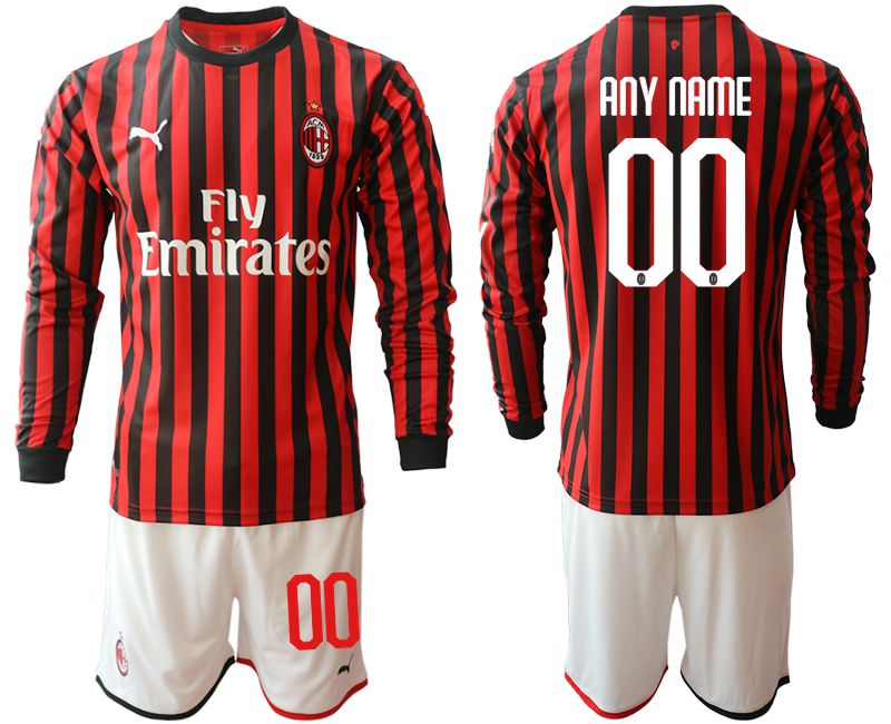 Men 2019-2020 club AC milan home long sleeve customized red Soccer Jerseys