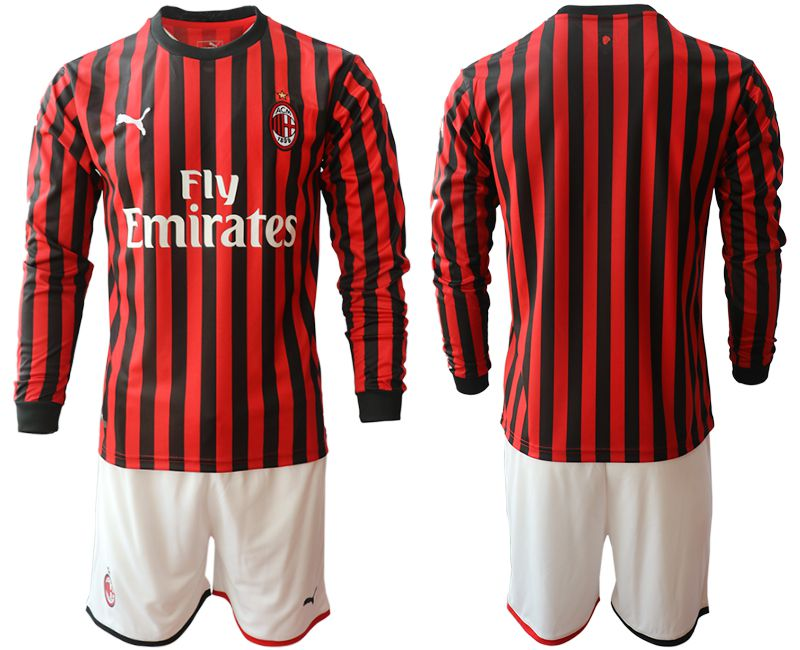 Men 2019-2020 club AC milan home long sleeve red Soccer Jerseys