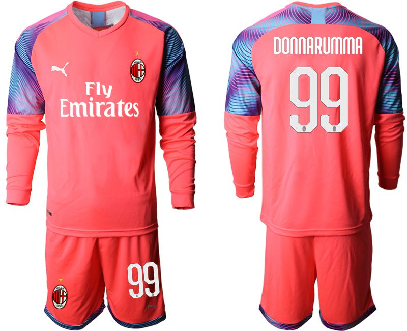Men 2019-2020 club AC milan pink goalkeeper long sleeve 99 Soccer Jerseys